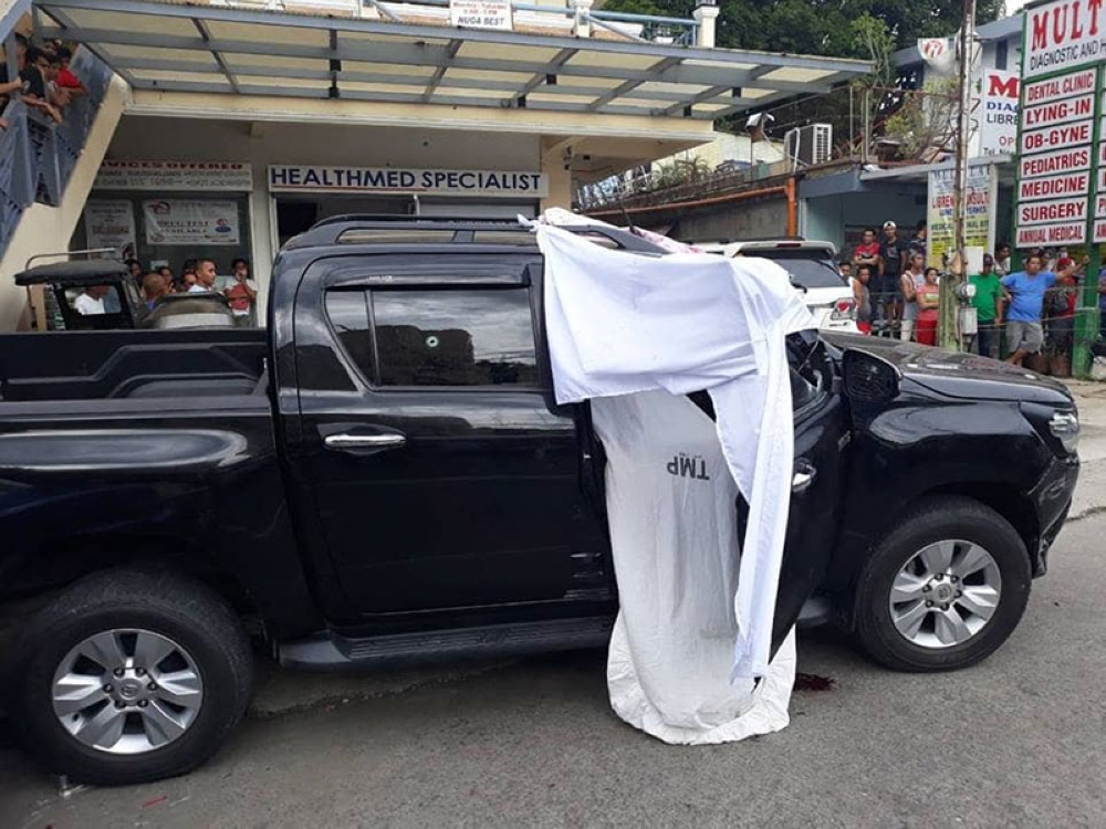 Trece Martires, Cavite Vice Mayor Alex Lubigan was shot dead while onboard his vehicle, black pick-up truck, in front of Korean-Philippines Friendship Hospital on Indang Road. (Photos by Trece Martires police)