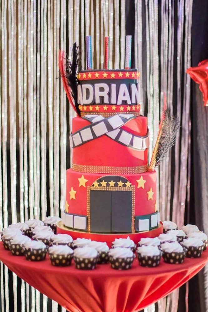 A Netflix inspired cake fitting for a Hollywood theme celebration