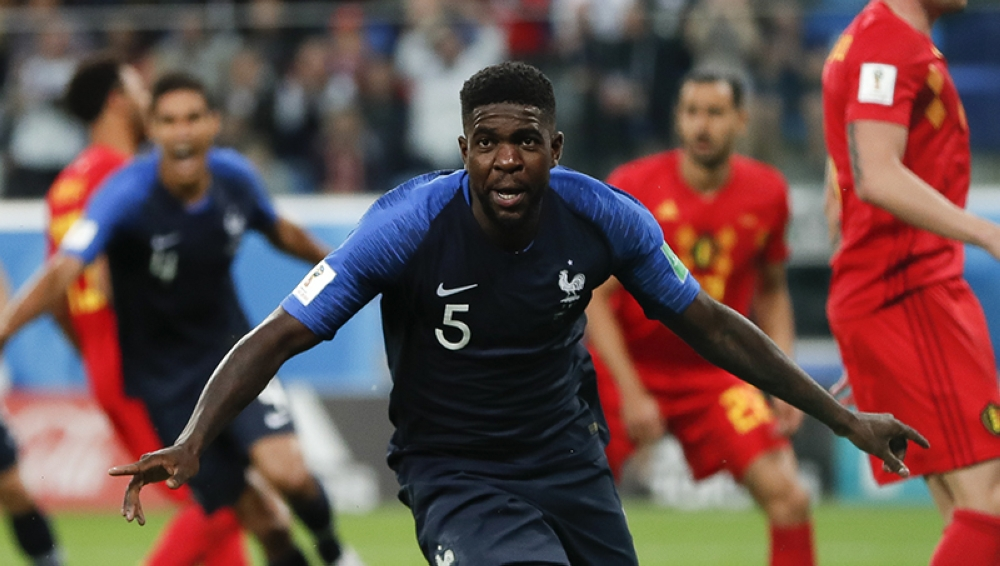 RUSSIA. France's Samuel Umtiti celebrates after scoring his sides 1st goal of the game during the semifinal match between France and Belgium at the 2018 soccer World Cup in the St. Petersburg Stadium in, St. Petersburg, Russia, Tuesday, July 10, 2018. (AP)