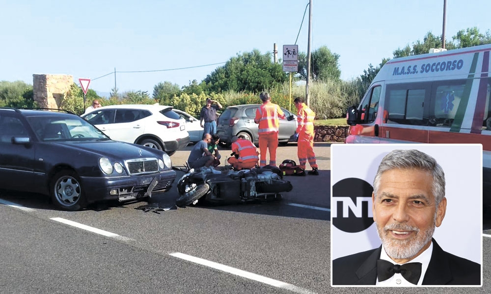 At the scene. Ambulance personnel tend to a man lying on the ground, later identified as actor George Clooney (inset), who was involved in a scooter accident in Olbia, on Sardinia island, Italy last Tuesday. (AP Foto/Mario Chironi and Willy Sanjuan [Invision/AP, File])