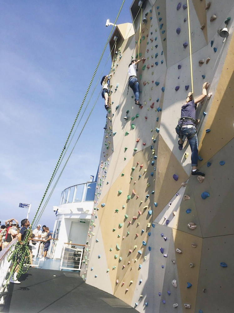 You rock. The ship's 43-foot rock climbing wall exhilarates both beginners and speed climbers, while the view from above enthralls them.