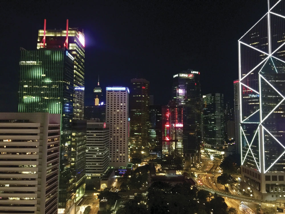 Stunning skyscrapers. Drink in this view with a drink in hand at Sevva's rooftop bar in Central, Hong Kong.