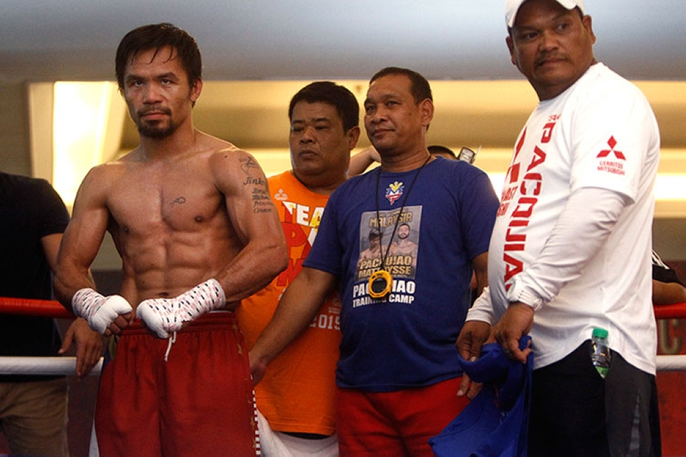 MALAYSIA. Philippine senator and boxing champion Manny Pacquiao trains at a press preview in Kuala Lumpur, Malaysia, Wednesday, July 11, 2018. (AP)
