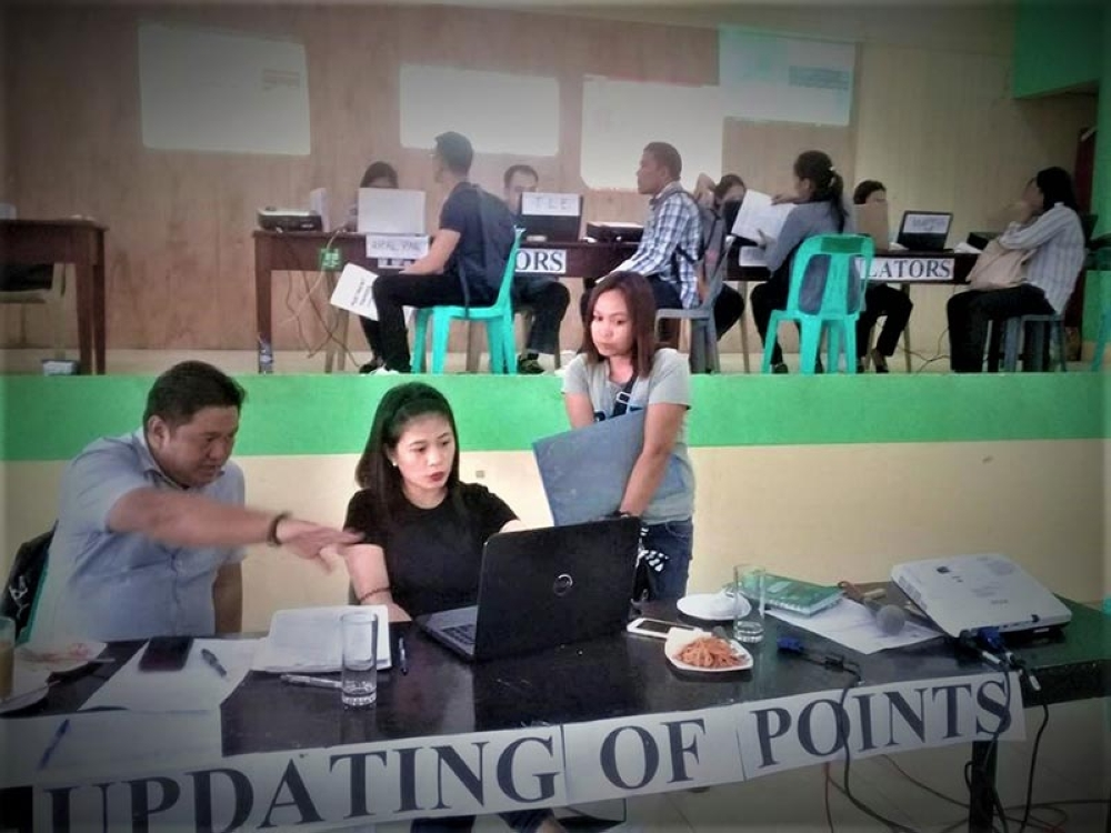 "LEYTE.  Leyte Schools Division Superintendent Ronelo Al Firmo (front, left) has institutionalized the ""open ranking system"" for the evaluative assessment of documents to maintain transparency and democratic process in the hiring of new teachers in Leyte. (Ronald O. Reyes)"