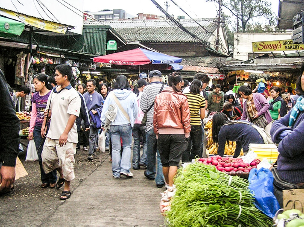 The vicinity of Baguio City Market is teeming with people