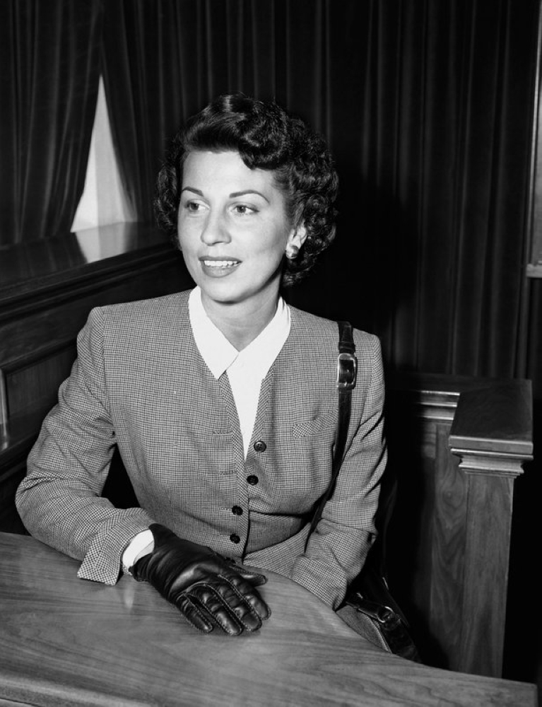 In this Sept. 28, 1950 file photo, Nancy Sinatra Sr. takes the witness stand in Superior Court in Santa Monica, Calif., where she was granted a decree of separate maintenance from singer Frank Sinatra. Sinatra Sr., the childhood sweetheart of Frank Sinatra who became the first of his four wives and the mother of his three children, has died. She was 101. Her daughter, Nancy Sinatra Jr., tweeted that her mother died Friday, July 13, 2018. (AP)