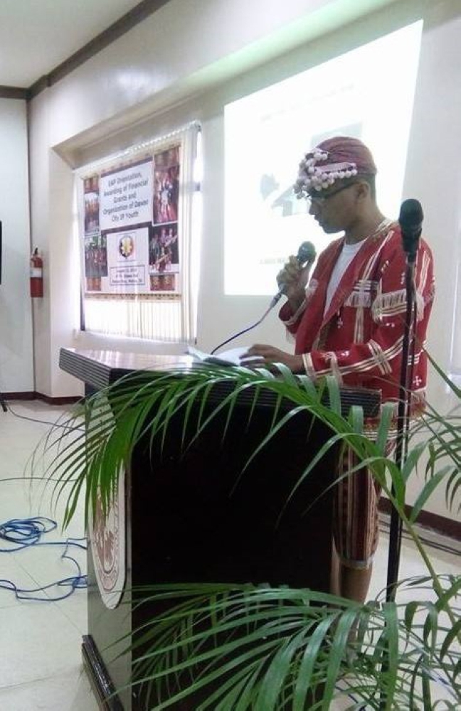 JP delivers a speech during an event of the National Commission of Indigenous People. (Contributed photo)