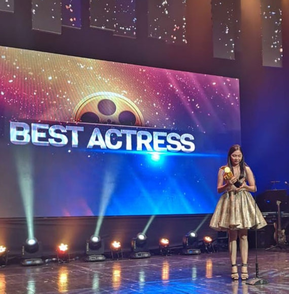 "The Eddys Best Actress winner Mary Joy Apostol for her outstanding performance in the movie ""Birdshot"""