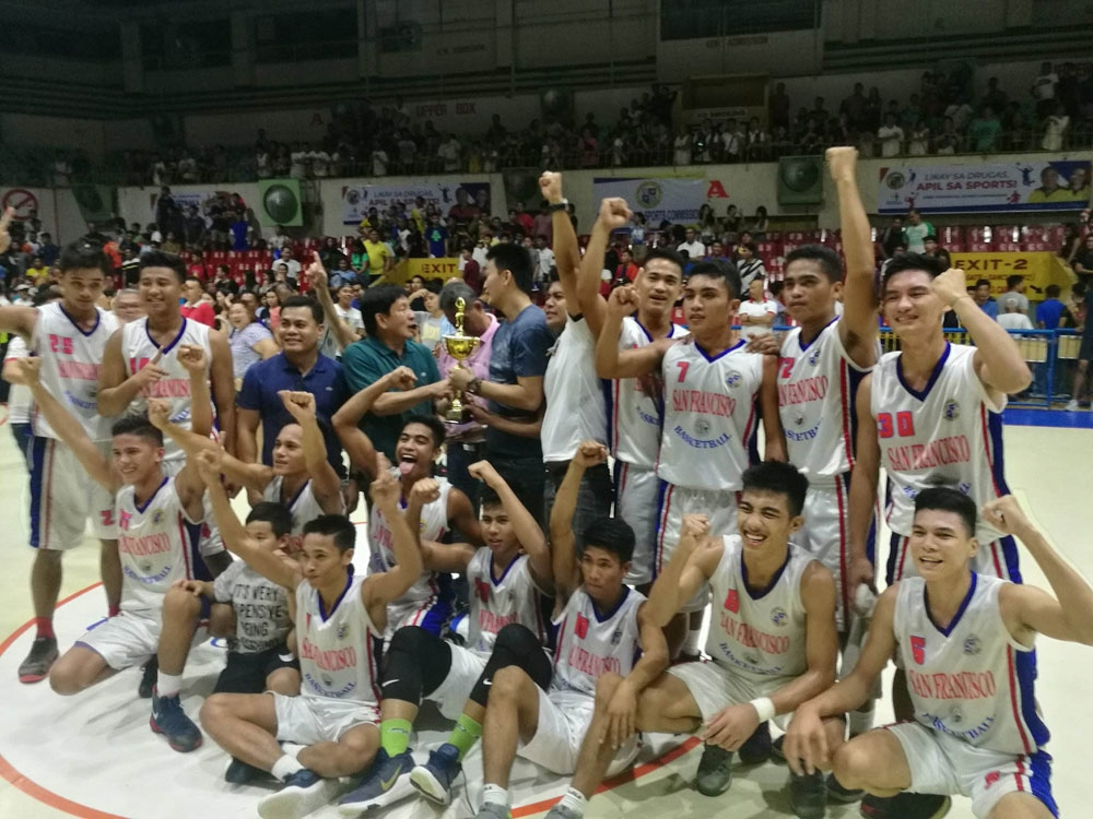 Champion. San Francisco celebrates their narrow Game 3 win over Consolacion in the North Division finals of the Governor's Cup for Basketball. (SunStar Photo/Alex Badayos)