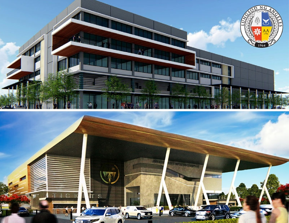 PAMPANGA. Photos show the artist's perspectives of the soon to be built five-story Angeles City Hall Annex in Barangay Pulung Maragul and the Angeles City Sports Complex in Barangay Pampang. The city eyes the construction of the said facilities to start by September this year. (Photos contributed by AC-CIO)