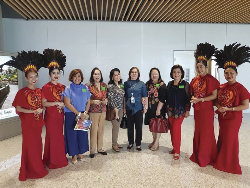 Present. At the Philippines Airlines (PAL) VIP Lounge at Terminal 2: PAL president chief executive officer Jaime Bautista with media and industry stakeholders: Alice Queblatin, Mila Espina, NGN, Marijo Araneta, Baby Dy and Aida Uy.
