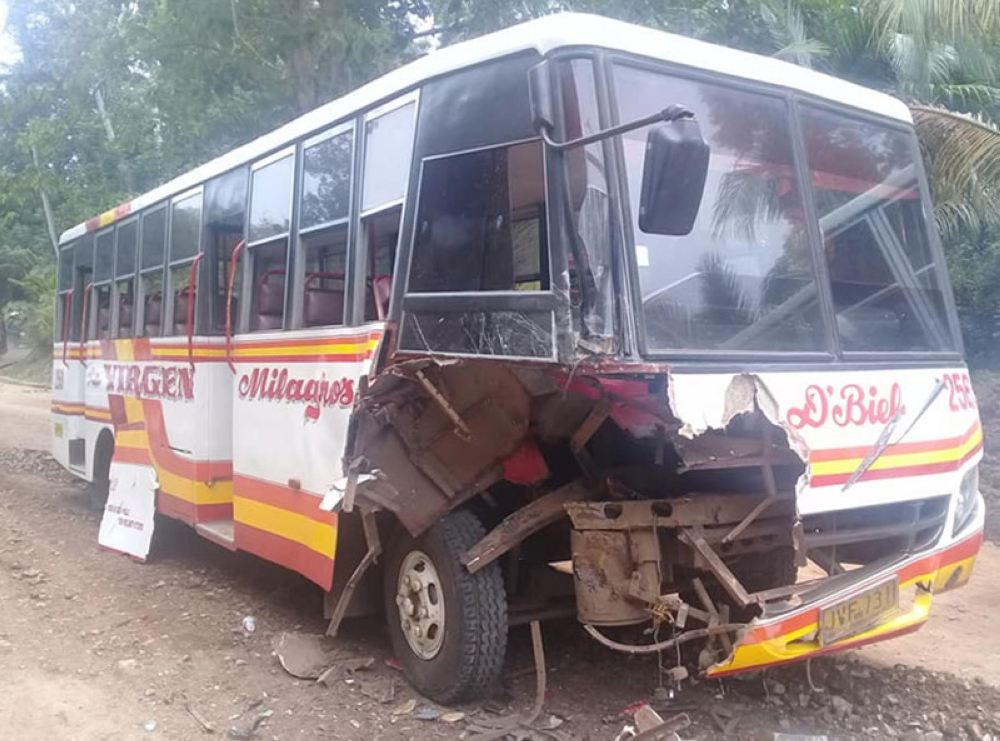 ZAMBOANGA. Social media site photo shows the right front of the passenger bus was damaged when it collided with a road roller on Tuesday along the Isabela-Lamitan highway in Basilan province. (Bong Garcia)