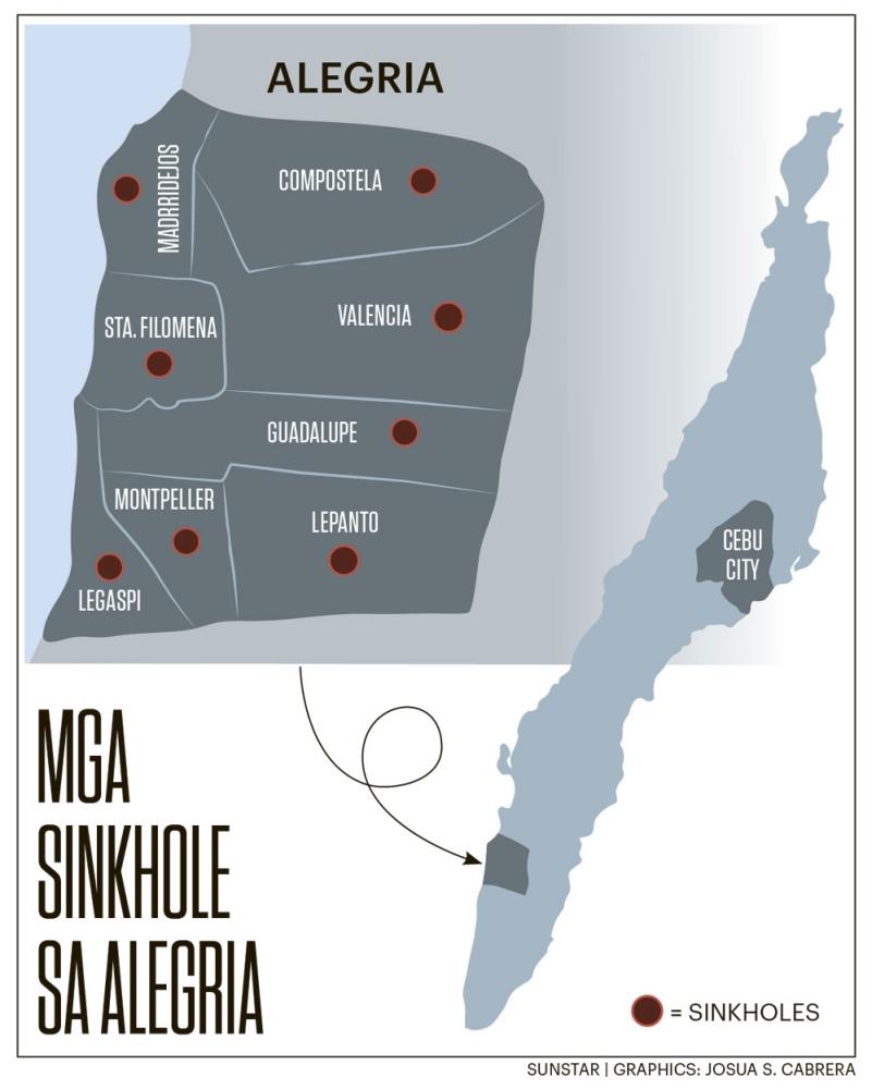 Sinkhole. Moabot sa 44 ka mga sinkhole ang nakit-an sa Mine and Geosciences Bureau (MGB) nga nahimutang sa lungsod sa Alegria sakop sa habagatang bahin sa lalawigan sa Sugbo.