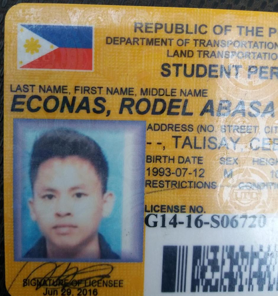 Rodel Econas identification card. (Photo from SuperBalita Cebu)