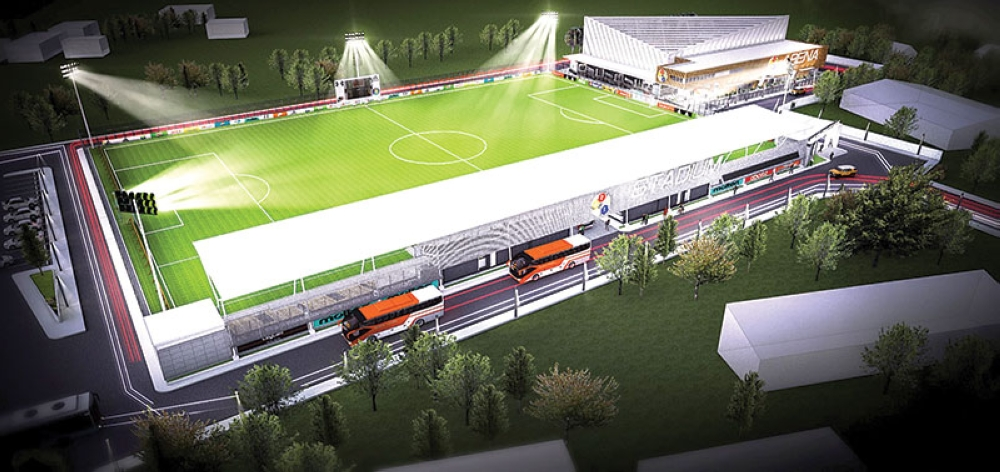 A render of the Dynamic Herb Sports Complex, an active lifestyle destination at the South Road Properties in Cebu City. The complex will be home to a FIFA standard pitch and an indoor arena for multi-sport activities. (Contributed photo)