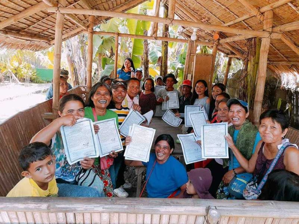 NEGROS. Some of the agrarian reform beneficiaries in Toboso town, who received their land titles and were installed by the Department of Agrarian Reform-Negros Occidental I this week. (Contributed Photo)