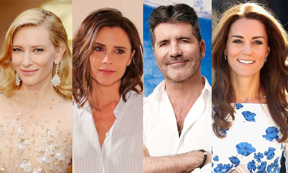 Cate Blanchett [Foto/Wireimage], Victoria Beckham [Foto/BBC], Simon Cowell [Foto/Variety, and Kate Middleton [Foto/Marie Claire]
