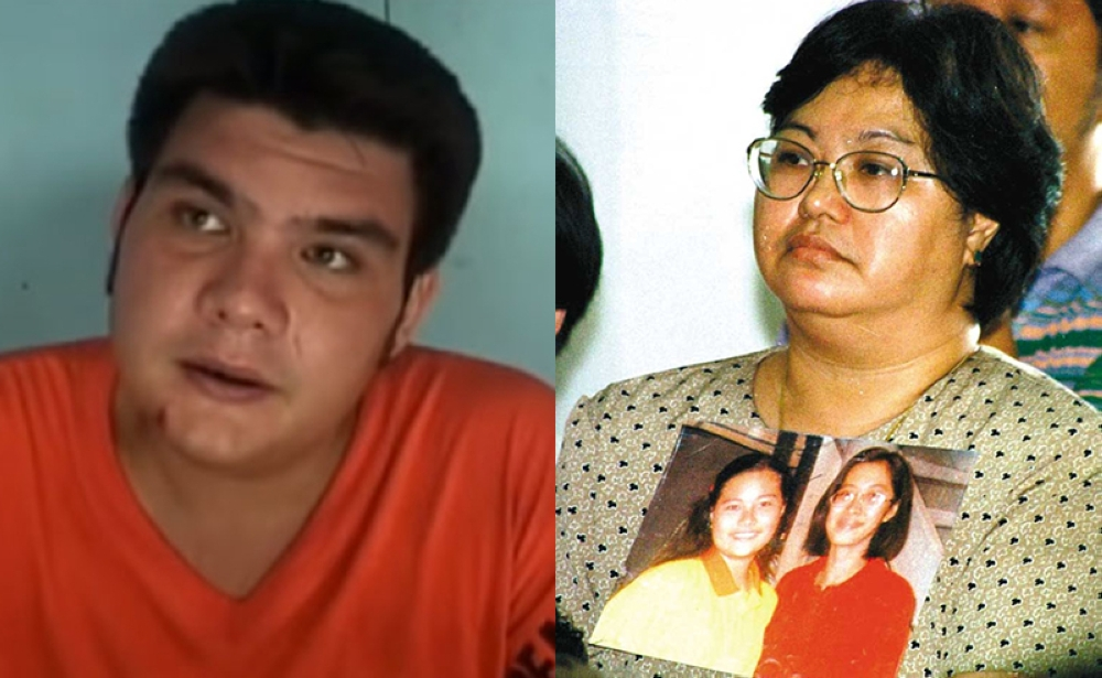 In this combination photo, one of the suspects in the Chiong sisters rape and murder case, Paco Larranaga (left) and Mrs. Thelma Chiong, the mother of Marijoy and Jacqueline. (Paco Larranaga photo grabbed from the film documentary