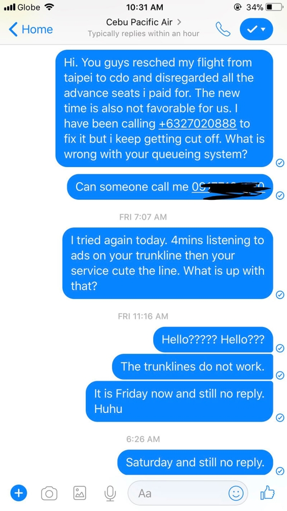 Unattended messages sent via PM on Thursday to Saturday. No replies! It says they typically reply within an hour…not true.