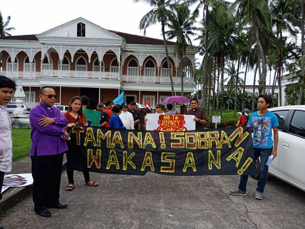 LEYTE. Protesters converge at the Sto. Niño Shrine in Tacloban City for a protest march against President Rodrigo Duterte during his third State of the Nation Address (Sona) on July 23, 2018. (Marie Tonette Grace Marticio)