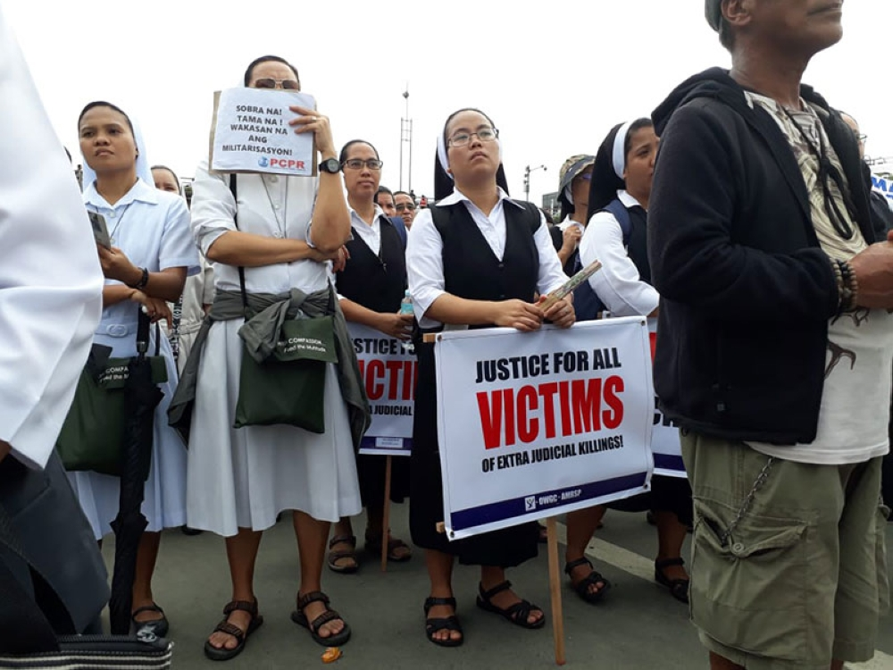 MANILA. Nuns join the protests during the State of the Nation Address of President Rodrigo Duterte on July 23, 2018. (Third Anne Peralta-Malonzo/SunStar Philippines)