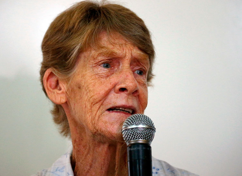 MANILA. Australian Roman Catholic nun Sister Patricia Fox answers a reporter's question during a news conference in Quezon City, on July 20, 2018. (AP)