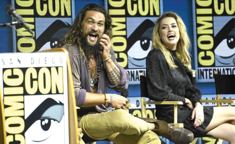"Stars at Comic-Con. From left, Jason Momoa and Amber Heard of ""Aquaman"" (AP Foto/Chris Pizzello)"