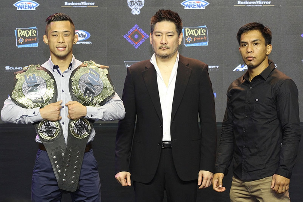 BAGUIO. Two division champion Martin Nguyen and Team Lakay's Kevin Belingon during the press presentation of ONE: King of Reigns. (ONE Championship photo)