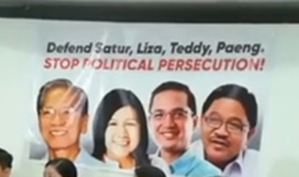 MANILA.  A tarpaulin showing the images of former lawmakers Satur Ocampo, Liza Maza, Teodoro Casiño and Rafael Mariano was displayed during a Makabayan bloc press conference on July 27, 2018 to condemn the issuance of arrest warrants against the four former lawmakers. (Photo grabbed from Bayan FB)