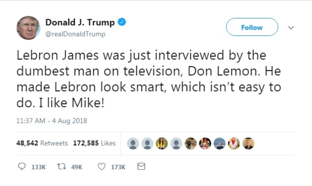 trump tweet on lebron