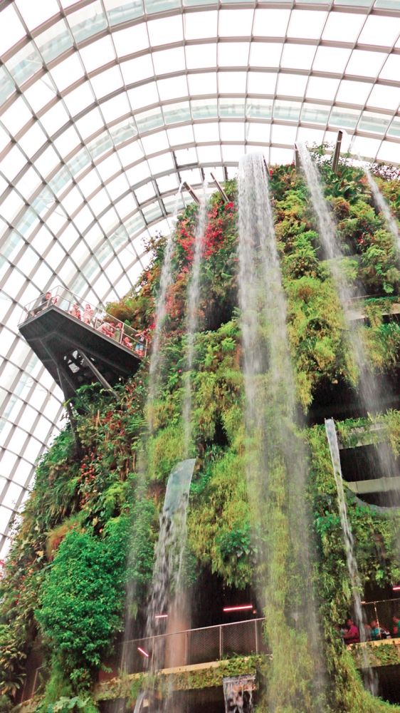 SINGAPORE. The world's tallest indoor waterfall is housed at the Cloud Forest of Gardens by the Bay. (Ace June Rell S. Perez)