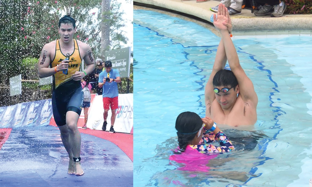 Enchong Dee during the Ironman last Sunday. In the right photo shows Enchong teaches a girl the basics of swimming during the GoWell GoSwim program of Sun Life Financial. (SunStar Foto/Allan Cuizon)