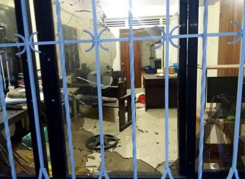 SAMAR. The Lapinig, Northern Samar police station was attacked by suspected communist rebels on August 10, 2018. (Photo courtesy of PNP Eastern Visayas)