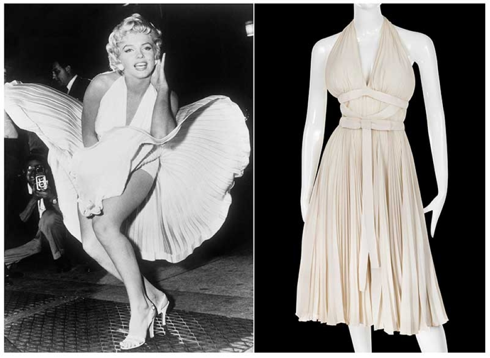 This combination photo shows actress Marilyn Monroe posing over the updraft of a New York subway grate while filming