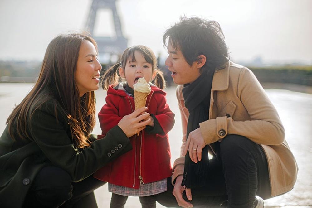 BONJOUR! GP Reyes, Andi Manzano-Reyes and daughter Olivia in Paris. (Contributed photo)