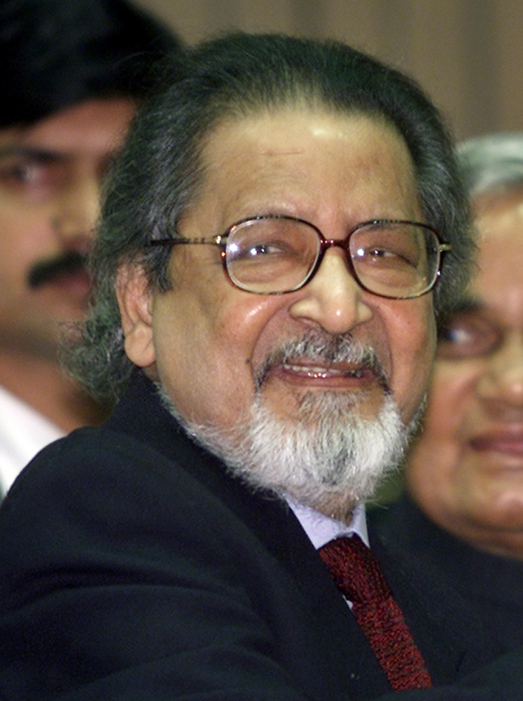 FILE - In this February 18, 2002 file photo Nobel laureate V.S. Naipaul attends an International Festival of Indian Literature in New Delhi, India. The family of the Trinidad-born British author says the Nobel Literature laureate has died at the age of 85. The family said in a statement late Saturday, August 11, 2018, that the novelist had died at his London home. (AP Photo)
