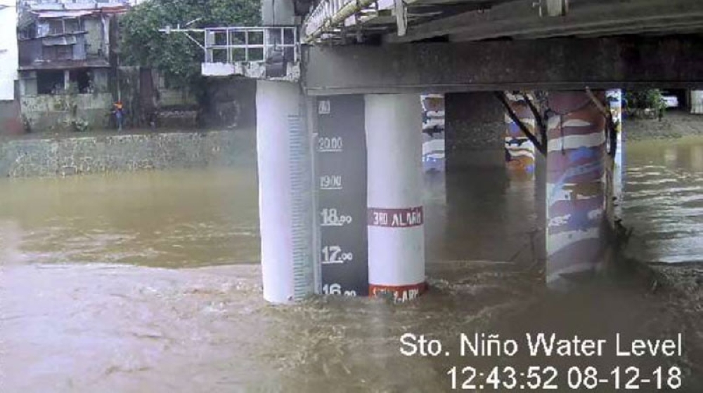 MANILA. Water level at the Marikina River recedes to 16.1 meters as of Sunday noon, August 12, 2018. (Photo from Marikina City Facebook)
