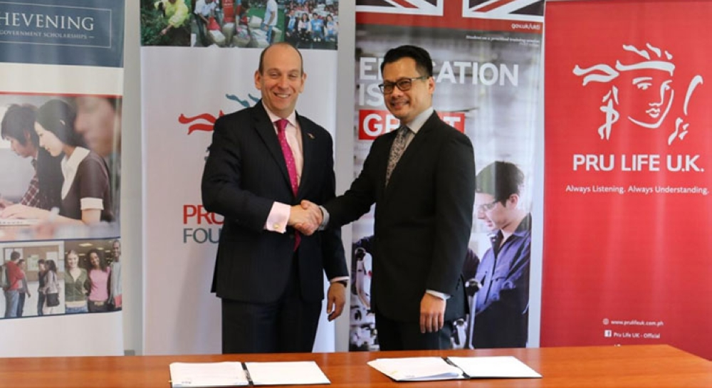 MANILA. British Ambassador to the Philippines H. E. Daniel Pruce and Pru Life UK Chief Marketing Officer Allan Tumbaga during the official signing of the partnership agreement. (Contributed photo)
