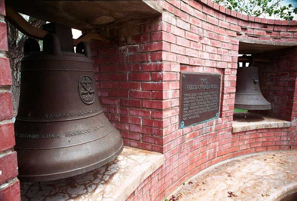 WYOMING. In this May 2001 file photo are two of the Bells of Balangiga at F.E. Warren Air Force Base outside Cheyenne, Wyo. Elected officials from Wyoming say they oppose plans to return church bells seized as war trophies from the Philippines over a century ago. Two of the bells are in Cheyenne and the third is with the U.S. Air Force in South Korea. (AP)