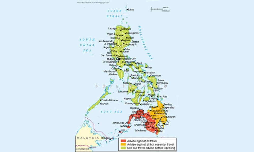 MANILA. British nationals are advised against traveling to areas marked in red. Only essential travel is advised for yellow areas. (Map grabbed from gov.uk)