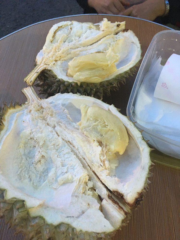 DAVAO. Freshly opened durian ready to get in our bellies. (Kriztja Marae G. Labrador)