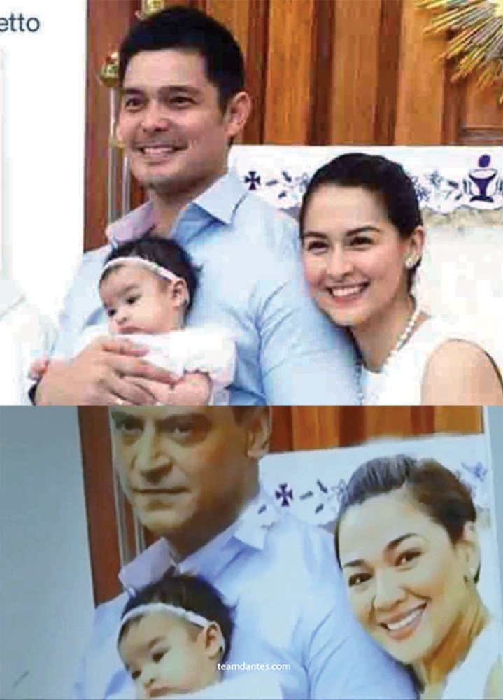 """Photoshop fail.  Dingdong Dantes complains that """"Ang Probinsyano"""" photoshopped his family photo for the show. Far left photo shows the hotoshopped version, but baby Maria Letizia was not replaced. (Fotos / Feistymomma & -Chisms.net)"""