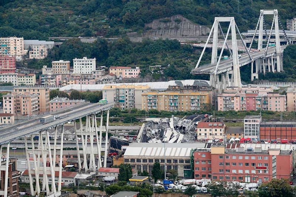 ITALY. A view of the Morandi bridge that collapsed in Genoa, northern Italy on Tuesday, August 14, 2018. (AP)