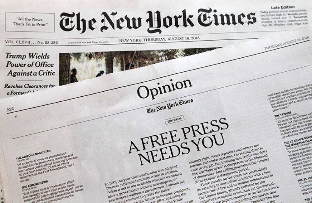 NEW YORK. An editorial titled 'A Free Press Needs You' is published in The New York Times, Thursday, Aug. 16, 2018, in New York. Newspapers from Maine to Hawaii pushed back against President Donald Trump's attacks on 'fake news' Thursday with a coordinated series of editorials speaking up for a free and vigorous press. The Boston Globe, which set the campaign in motion by urging the unified voice, had estimated that some 350 newspapers would participate. (AP)