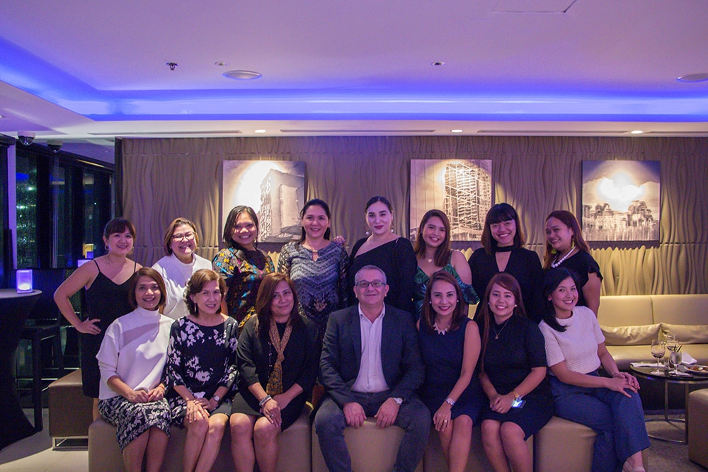 Senior group general manager Andrea Mastellone with Seda Hotel officers and media friends at the Straight Up bar in Seda Hotel BGC, Taguig.