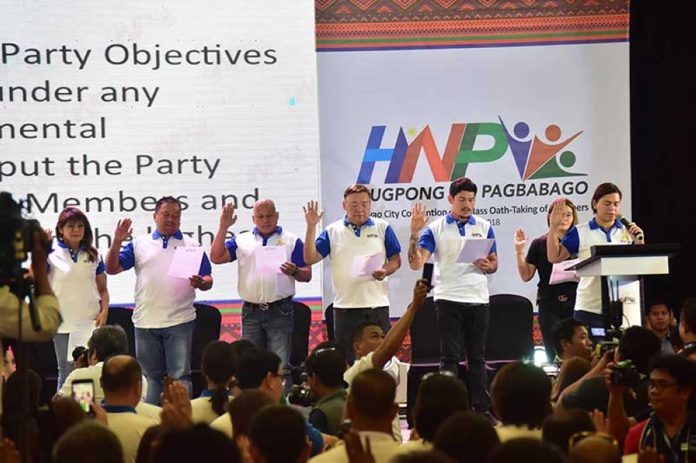 DAVAO. More than 6,000 take their oath during the mass oath-taking of Hugpong ng Pagbabago led by Davao City Mayor Sara Duterte-Carpio at the SMX Convention Center in Lanang on Friday, August 18, 2018. (Photo by Macky A. Lim)