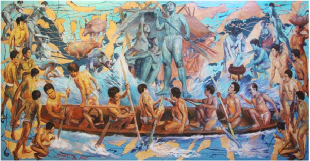 """Simkin de Pio, National Boat: """"The Filipinos belong to the Austronesian Race. There are two theories about the origin of the Austronesians. One theory says they originated in Taiwan and first settled in thenorthern part of the Phlippine archipelago.  Another theory states they originated in northeastern Indonesia and Mindanao expanding northwards."""" (Contributed Photo)"""
