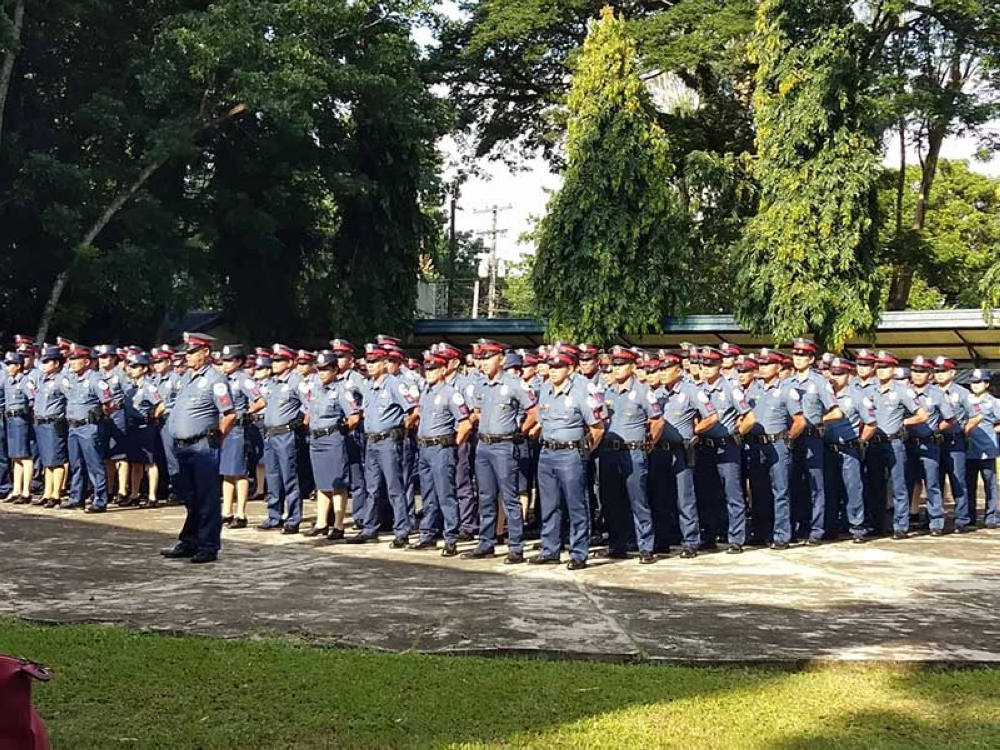BACOLOD. The 193 newly-promoted policemen of Negros Occidental Police Provincial Office during the donning of ranks held at Camp Alfredo Montelibano Sr. in Barangay Estefania, Bacolod City Monday, August 20. (Glazyl Y. Masculino)