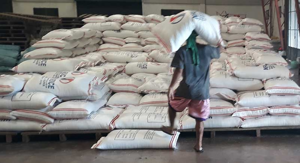 BACOLOD. A portion of the 80,000 bags of rice from Thailand as initial import allocation of the province being stored at one of NFA-Negros Occidental's warehouses in Bacolod City. (Contributed Photo)