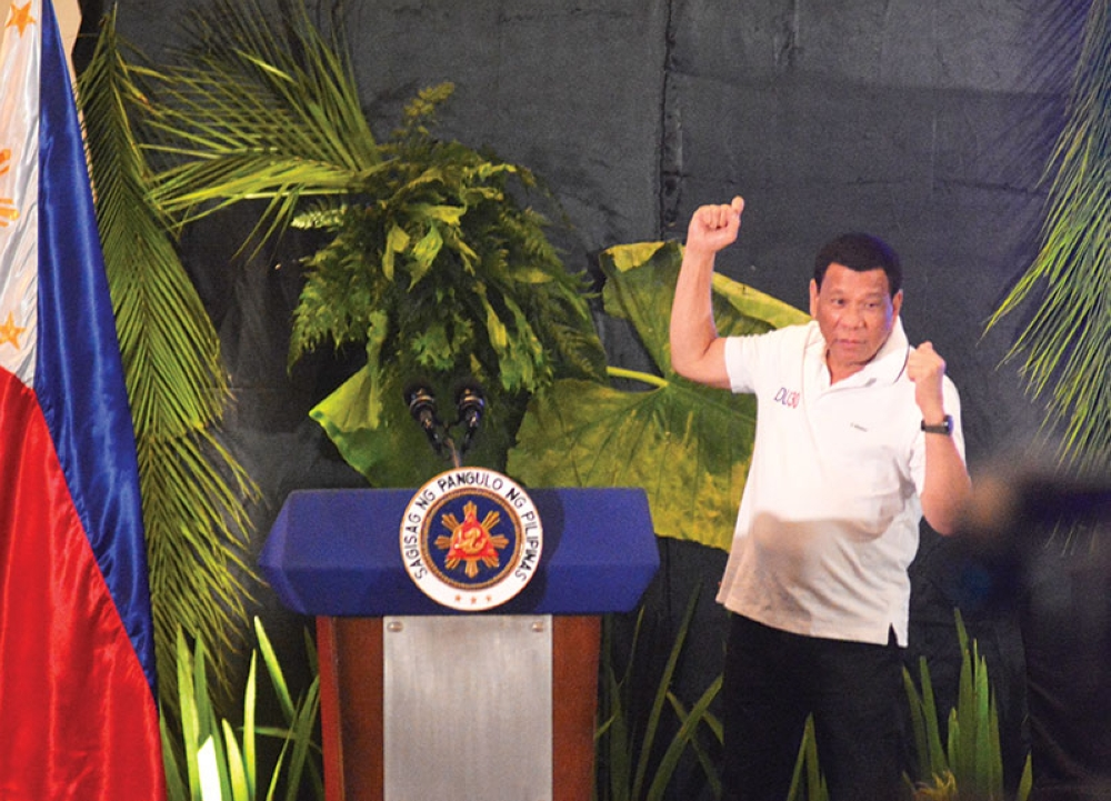 CEBU. President Rodrigo Duterte in a speech during a meeting with city mayors and local chief executives in Cebu and Visayas. (Photo by Amper Campaña/SunStar Cebu)